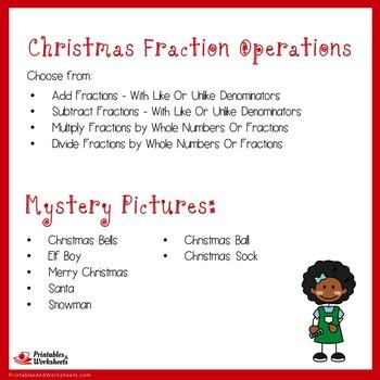 Christmas Fraction Operations Bundle