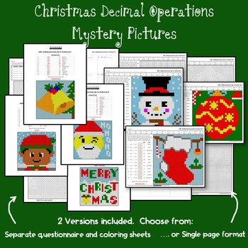 Christmas Decimal Operations Bundle