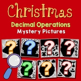 Christmas Decimal Operations Worksheet, December Math Fun Coloring Activity
