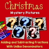 Christmas Adding And Subtracting Fractions With Unlike Denominators Worksheets
