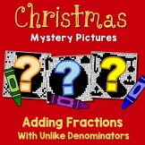 Christmas Adding Fractions With Unlike Denominators, Fun Worksheet With Coloring