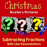 Like Denominator Subtracting Fraction Christmas Activity 4th Grade Color-Number