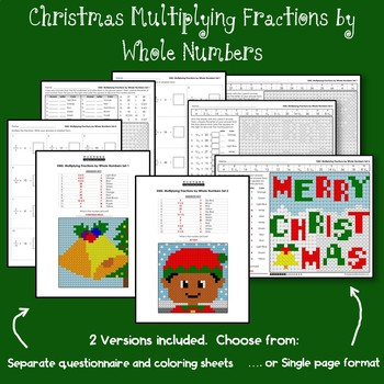 Christmas Multiplying Fractions by Whole Numbers