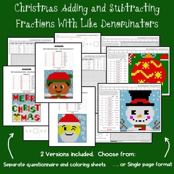 Christmas Adding and Subtracting Fractions With Like Denominators