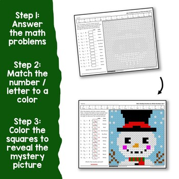 Math Christmas Multiplying And Dividing Fractions Project, Mystery Picture Pages