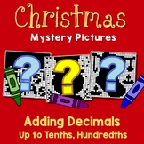 Christmas Adding Decimals Project Tenths, Hundredths Mystery Math Coloring Sheet