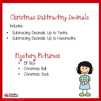 Christmas Subtracting Decimals Up to Tenths, Hundredths
