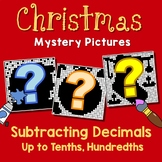 Subtracting Decimals To Tenths, Hundredths, Fun Math Coloring Christmas Pages