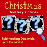Christmas Subtracting Decimal To The Thousandths, Math Coloring Pages By Number