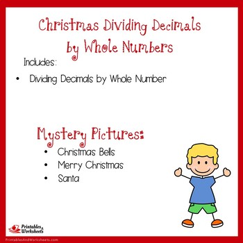 Christmas Dividing Decimals by Whole Numbers