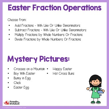 Easter Fraction Operations Mystery Pictures