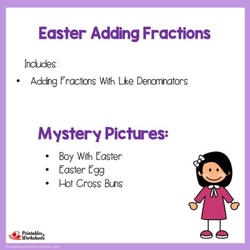 Easter Adding Fractions With Like Denominators