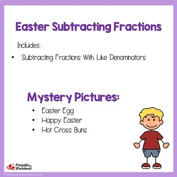 Easter Subtracting Fractions With Like Denominators