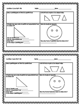 "4G Common Core Geometry Worksheets ""Half Page Frenzies"""