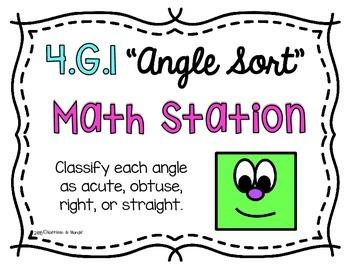 4.G.1 Math Station/Activity: Shape Sort {Lines & Angles}