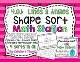 4.G.1 Math Station/Activity: Shape Sort {Lines & Angles}