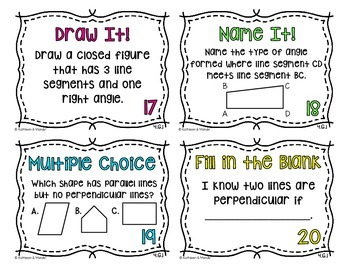 4.G.1 Task Cards: Lines & Angles