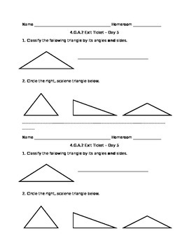 4.G.A.2 Triangles Exit Ticket