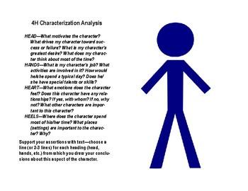4H Characterization Graphic Organizer