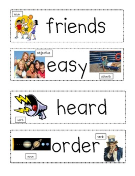 4.L.3 & 4.L.6 Common Core: Word Wall Words with parts of speech & pictures
