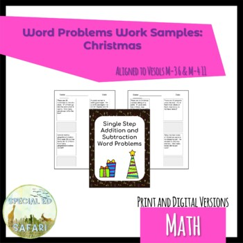 4M-NSCE 4a Christmas Word Problems Work Samples- VAAP and SPED!