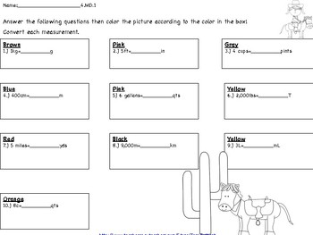 4.MD.1 Converting Customary & Metric Task Cards, Coloring Page & Worksheet