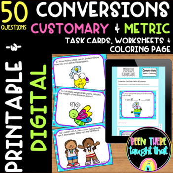 Converting Customary and Metric Units Task Cards, Coloring Page & Worksheet