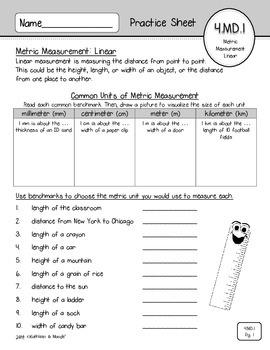 4.MD.1: Metric Measurement Practice Sheets