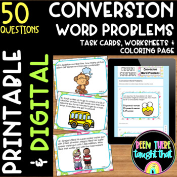 4.MD.2 Measurement Word Problems Task Cards, Worksheet, Coloring Page & More!