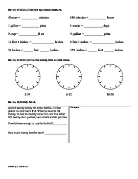 (4.MD.2)Measurement Word Problems: 4th Grade Common Core Math Worksheets