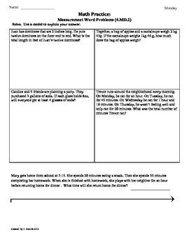 (4.MD.2)Measurement Word Problems: 4th Grade Common Core ...