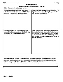 (4.MD.2)Measurement Word Problems: 4th Grade Common Core M