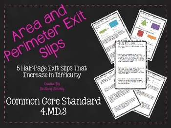 4.MD.3 Area and Perimeter Exit Slips