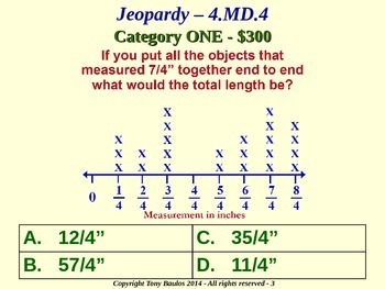 4.MD.4 4th Grade Math Jeopardy Game - Fractional Line Plot Addition Subtraction
