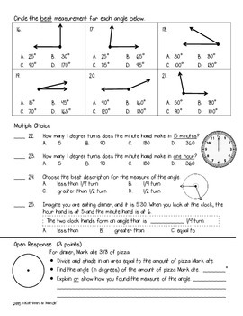 4.MD.5 Assessment: Relating Angles, Degrees, & Fractional Parts