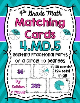 4.MD.5 Matching Cards: Relating Fractional Parts of a Circle to Degrees