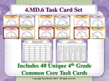 4.MD.6 4th Grade Math Task Cards - Measure Angles Using A Protractor