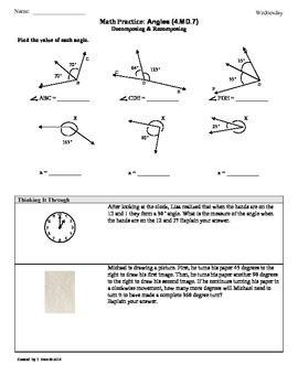 (4.MD.7) Angle Measurement: 4th Grade Common Core Math Worksheets