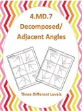 4.MD.7 Common Core Math Standards (Decomposed Angles) (Adjacent Angles)