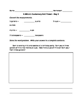4.MD.A.1 Customary Measurements - Exit Ticket 2