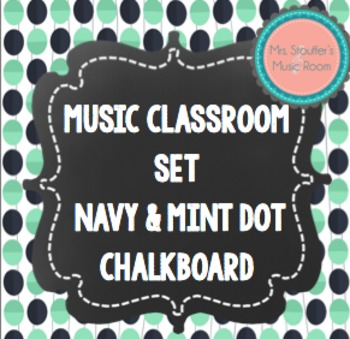 Music Word Wall {Navy & Mint Dot Chalkboard Theme}