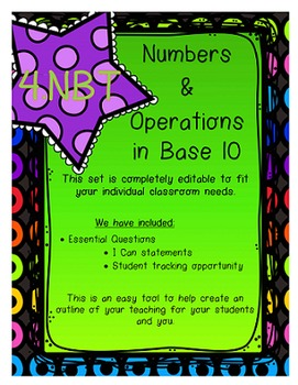 4.NBT I Can Statements, Essential Questions and Student Tracking