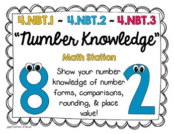 4.NBT.1, 4.NBT.2, 4.NBT.3: Number Knowledge (Math Station/Activity)