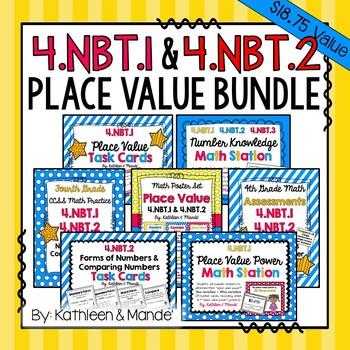 4.NBT.1 & 4.NBT.2: BUNDLE (Practice, Assessments, Posters,