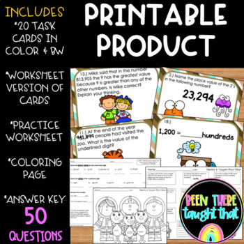 4.NBT.1 Identify and Compare Place Value Task Cards and Worksheets