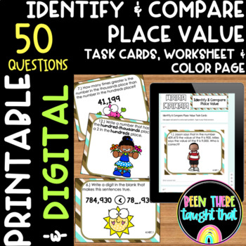 4.NBT.1 Identify and Compare Place Value Task Cards and Wo
