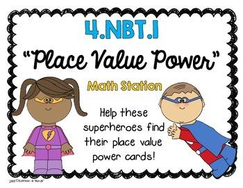 4.NBT.1: Place Value Power (Math Station/Activity)