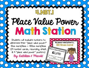 4.NBT.1: Place Value Power (Math Station/Activity)