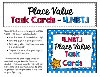 4.NBT.1 Task Cards: Place Value