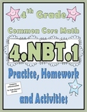 4.NBT.1 Practice, Homework, and Activities 4th Grade Common Core Math